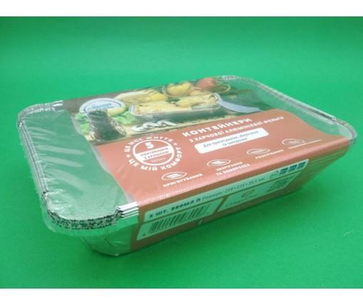Контейнер из пищевой алюминиевой фольги прямоугольный 430мл SP24L 100 штук в упаковке