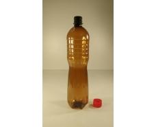 Пластиковая бутылка ПЭТ 1,0 л коричневая с крышкой (120 шт)