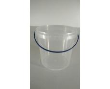 Ведро круглое с крышкой 1 л, прозрачное (50 шт)