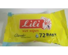 Влажная салфетка освежающая 72шт Lili