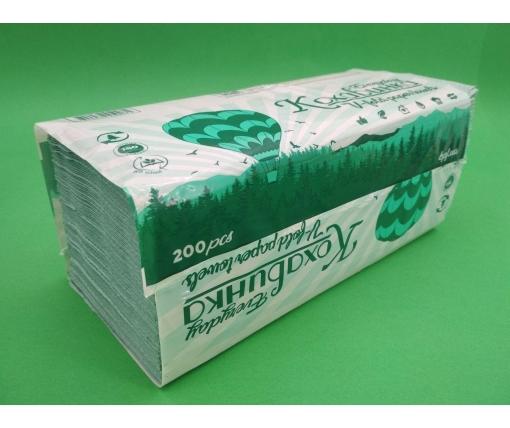 Листовое бумажное полотенце V/V зеленое(200 листов) Каховинка  (1 пач)