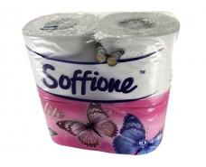 Бумага туалетная целлюлозная белая Диво SOFFION, 4 рулончика в пачке (1 пач)