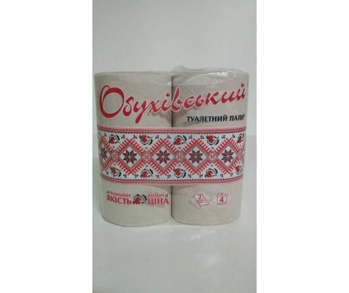 Бумага в туалет макулатурная ОБУХОВСКАЯ 4 рулончика в пачке (1 пач)