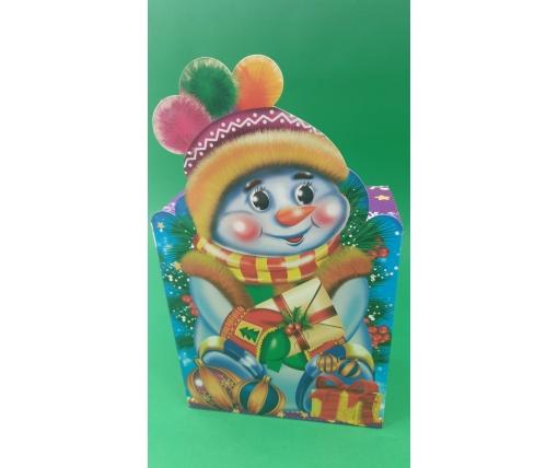 Новогодняя коробка для конфет №103а(Снеговик в шапке700) (25 шт)
