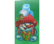 Новогодняя коробка для конфет №111 б(Снеговик руковичка600) (25 шт)