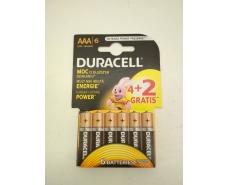 Батарейка мини пальчиковая  Duracell (ААA R3)  алкалин(Б-6) (6 шт)