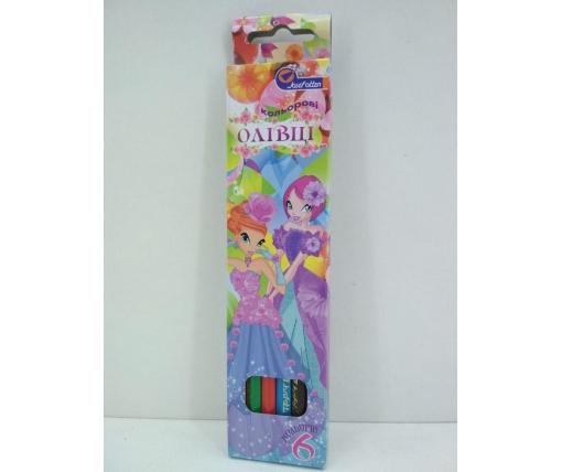 Карандаши цветные набор 6шт Мультяшки (1 пачка)