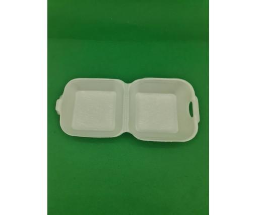 ᐉЛанч-бокс из вспененного полистирола с крышкой (123*133*78) белый ТR-140 200штук в мешке