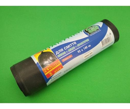 Мешки для мусора 240литров (5шт LD) Супер Торба (1 рул)