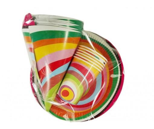 """Комплект одноразовой бумажной посуды  №2/23 """"Веселая!""""  6шт (1 пач)"""