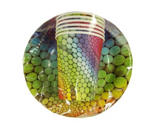"""Комплект одноразовой бумажной посуды №3/19 """"Радуга"""" (1 пач)"""