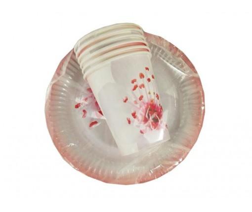 """Комплект одноразовой бумажной посуды №3/19 """"Розовая"""" (1 пач)"""