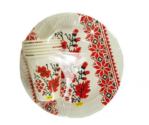 """Одноразовый набор бумажной посуды №4/23 """"Вышиванка"""" (1 пач)"""