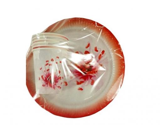 """Комплект одноразовой бумажной посуды №4/23 """"Розовая"""" (1 пач)"""