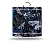 """Пакет с пластиковой ручкой большой  """"Ледяная бабочка"""" без ручки (10 шт)"""