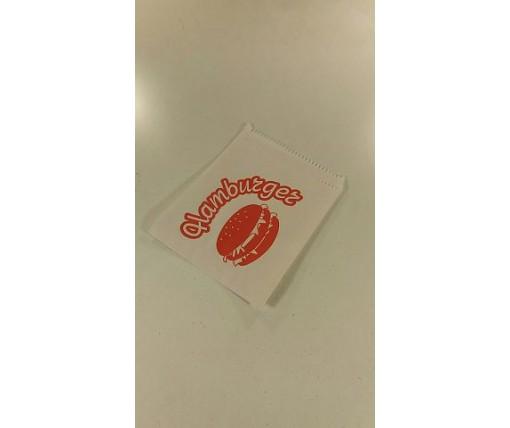 """Пакет бумажный """"гамбургер """"12см*16см белые с надписью (5000 шт)"""