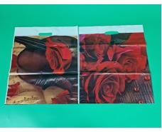 """Пакеты с вырубной ручкой(42*50+3)""""Розы """" ХВГ (25 шт)"""