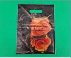 """Пакеты с вырубной ручкой (25*35+3)""""Роза """" ХВГ (25 шт)"""