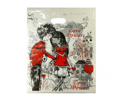 Пакет с вырубной ручкой Подарочный (30*40) №25 китай (100шт) (1 пач)