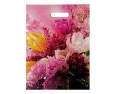 """Пакеты с вырубной ручкой (34*41+3)""""Цветы """" ХВГ (25 шт)"""