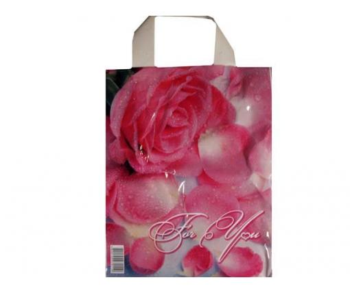 """Пакет ламинированный с петлевой ручкой маленький """"Лепистки роз""""  (23х29) 50мк ДПА (50 шт)"""