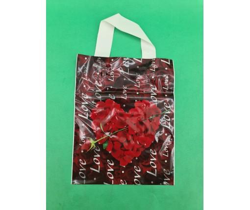 """Пакет ламинированный с петлевой ручкой м """"Сердце с розой""""  (23х29) 50мк ДПА (50 шт)"""