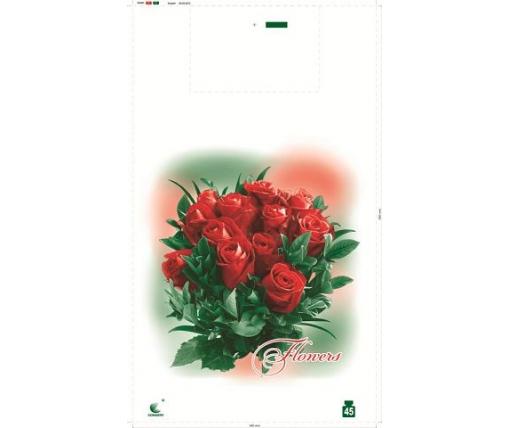 Пакет майка полиэтиленовая 34*58 Розы (5 цветов)  ''Комсерв'' (100 шт)