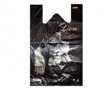 Пакеты Майка п\э(32+2х8)х50) Лев черный  Кривой Рог (250 шт)