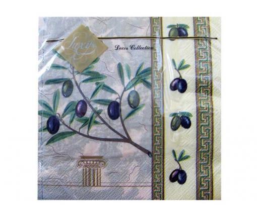 Дизайнерская салфетка (ЗЗхЗЗ, 20шт) Luxy  Грецкая оливка (607) (1 пачка)