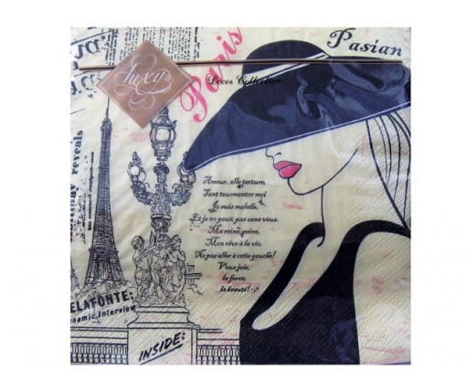 Дизайнерская салфетка (ЗЗхЗЗ, 20шт) Luxy Парижанка (043) (1 пачка)