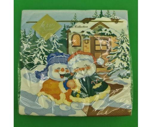 Новогодняя салфетка (ЗЗхЗЗ, 20шт) LuxyНГВеселые снеговики     (906) (1 пач)