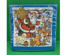 Новогодняя салфетка (ЗЗхЗЗ, 20шт) LuxyНГ Дед мороз и Звери  (709) (1 пач)