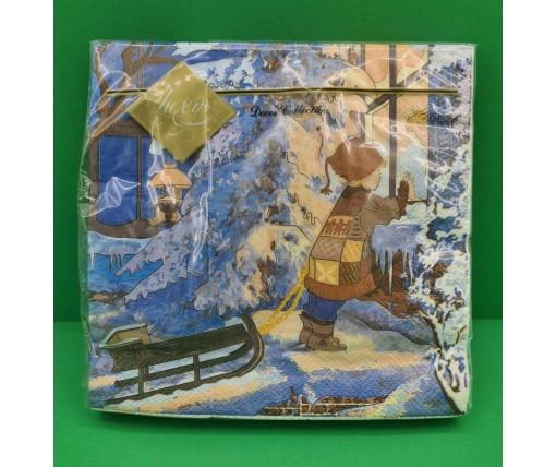 Дизайнерская салфетка (ЗЗхЗЗ, 20шт) LuxyНГ За окном (848) (1 пач)