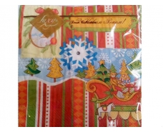 Дизайнерская салфетка (ЗЗхЗЗ, 20шт) LuxyНГ Игрушки новогодние    (302) (1 пач)