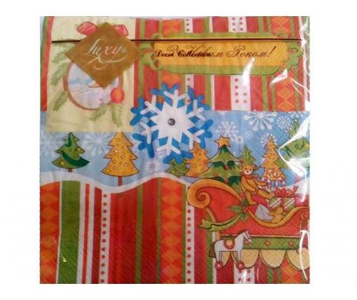 Дизайнерская салфетка (ЗЗхЗЗ, 20шт) LuxyНГ Игрушки новогодние    (302) (1 пачка)