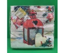 Праздничная салфетка (ЗЗхЗЗ, 20шт) LuxyНГ Рождественский фонарь (846) (1 пач)