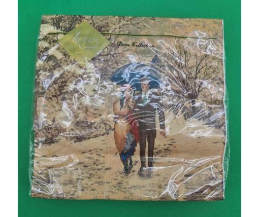 Дизайнерская салфетка (ЗЗхЗЗ, 20шт) LuxyНГ Рождественское свидание (847) (1 пачка)
