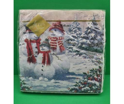 Новогодняя салфетка (ЗЗхЗЗ, 20шт) LuxyНГ Семья снеговиков (849) (1 пач)