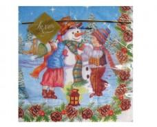 Праздничная салфетка (ЗЗхЗЗ, 20шт) LuxyНГ Снеговик праздничный (802) (1 пач)