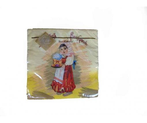 Дизайнерская салфетка (ЗЗхЗЗ, 20шт) Luxy Аленка с паской (410) (1 пачка)