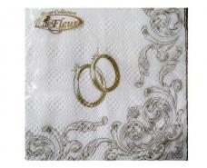 Праздничная салфетка (ЗЗхЗЗ, 20шт) Luxy  Венчальные кольца (2017) (1 пач)