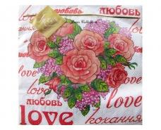Свадебная салфетка (ЗЗхЗЗ, 20шт) Luxy  Розовое сердце (206) (1 пачка)