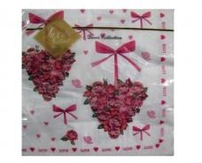 Праздничная салфетка (ЗЗхЗЗ, 20шт) Luxy  Сердце из роз (102) (1 пач)