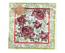 Дизайнерская салфетка (ЗЗхЗЗ, 20шт) Luxy  Дивные розы (471) (1 пач)