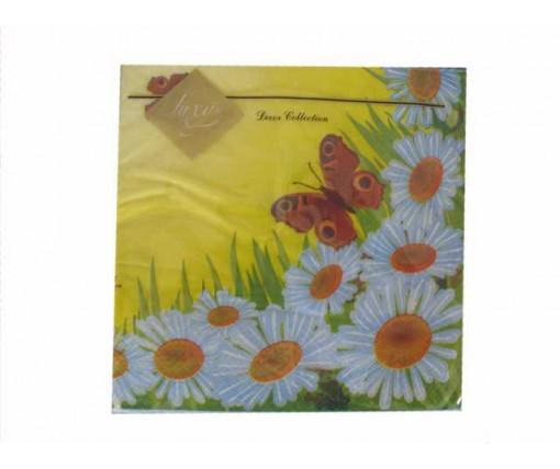 Дизайнерская салфетка (ЗЗхЗЗ, 20шт) Luxy  Ромашковая поляна  (420) (1 пач)