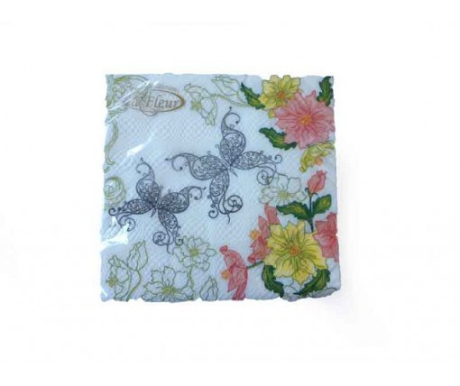Красивая салфетка (ЗЗхЗЗ, 20шт)  La Fleur Кружевные бабочки (202) (1 пач)