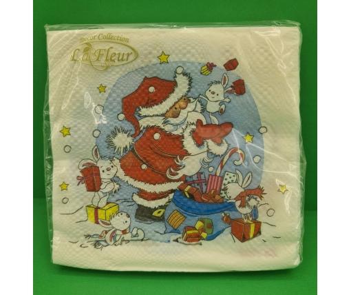 Новогодняя салфетка (ЗЗхЗЗ, 20шт)  La FleurНГ Подарки для зайчиков (202) (1 пач)