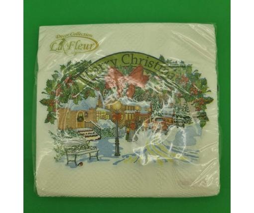 Новогодняя салфетка (ЗЗхЗЗ, 20шт)  La FleurНГ Рождественская картина (122) (1 пач)