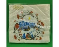 Дизайнерская салфетка (ЗЗхЗЗ, 20шт)  La FleurНГ Снегири 081 (1 пач)