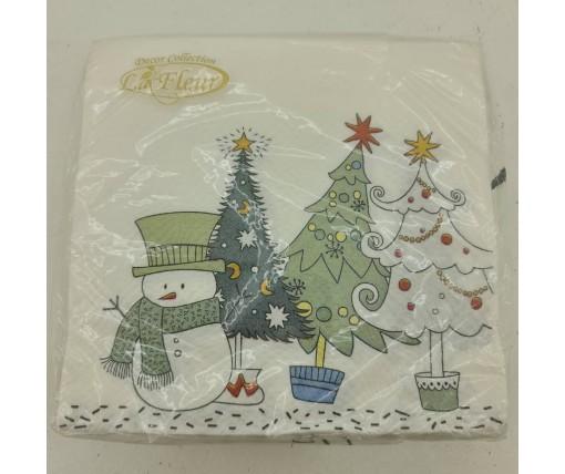 Дизайнерская салфетка (ЗЗхЗЗ, 20шт)  La FleurНГ Снеговик-озорник (116) (1 пач)
